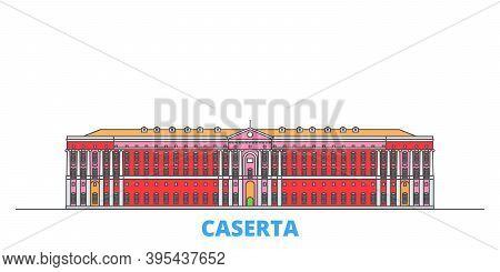 Italy, Caserta Line Cityscape, Flat Vector. Travel City Landmark, Oultine Illustration, Line World I