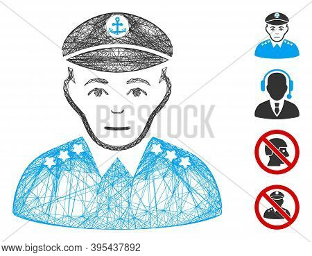 Vector Net Military Captain. Geometric Hatched Carcass 2d Net Made From Military Captain Icon, Desig