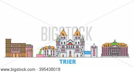 Germany, Trier Line Cityscape, Flat Vector. Travel City Landmark, Oultine Illustration, Line World I