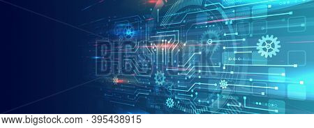 Perspective Wide High-tech Technology Background Texture. Abstract 3d Circuit Board Vector Illustrat