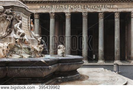 Fontana dei Pantheon fountain in front of the Pantheon, Piazza della Rotonda, Rome, Italy. Latin inscription reads: