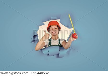 Trust To Expert. Cute Kid As A Construction Worker. Kid Repairing Home. Happy Childhood. Self-retrac