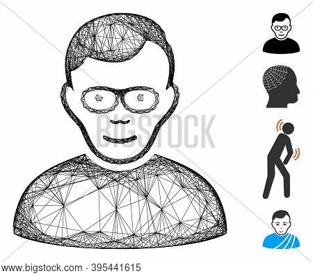Vector Wire Frame Pensioner. Geometric Wire Frame Flat Network Made From Pensioner Icon, Designed Wi