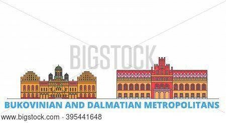 Ukraine, Bukovinian And Dalmatian Metropolitans Line Cityscape, Flat Vector. Travel City Landmark, O