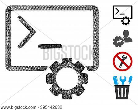 Vector Wire Frame Console Administration. Geometric Wire Carcass 2d Network Made From Console Admini