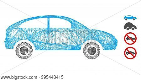 Vector Wire Frame Hatchback. Geometric Wire Frame Flat Net Based On Hatchback Icon, Designed From Cr