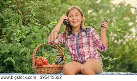 Girl Cute Smiling Child Living Healthy Life. Summer Harvest Concept. Organic Harvest. Healthy Lifest