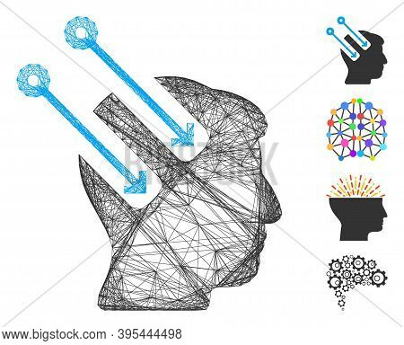 Vector Wire Frame Neural Interface. Geometric Linear Frame Flat Net Generated With Neural Interface