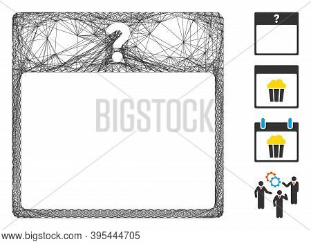 Vector Wire Frame Unknown Day Calendar Page. Geometric Wire Frame Flat Network Generated With Unknow