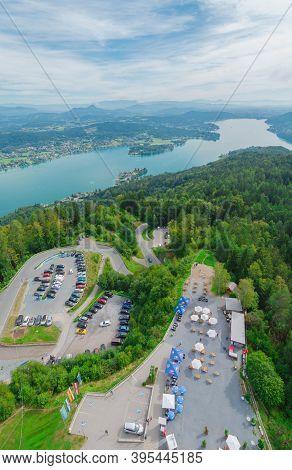 Klagenfurt, Austria- August 26, 2020: Aerial View Over The Parking Lot Of The Pyramidenkogel, The Hi