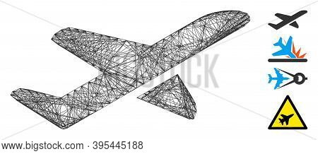 Vector Net Airplane Takeoff. Geometric Hatched Carcass Flat Net Made From Airplane Takeoff Icon, Des