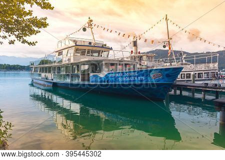 Klagenfurt, Austria- August 26, 2020: Tourist Boat On The Clear Waters Of Lake Worthersee, Famous At
