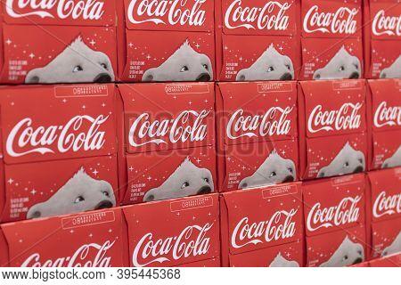 Indianapolis - Circa November 2020: Coca Cola And Coca Cola Christmas Polar Bear On Display. Coke Pr