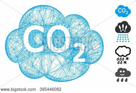Vector Network Co2 Cloud. Geometric Linear Carcass Flat Network Made From Co2 Cloud Icon, Designed F