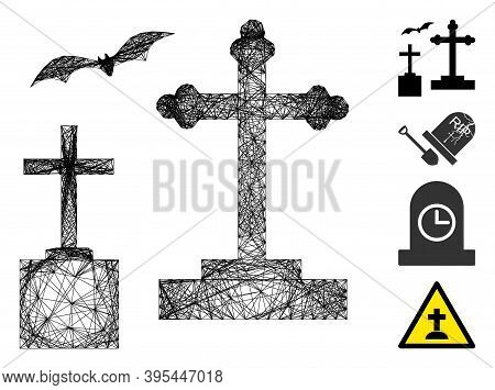 Vector Wire Frame Cemetery. Geometric Wire Frame 2d Net Made From Cemetery Icon, Designed With Inter