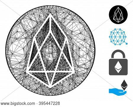 Vector Net Eos Currency. Geometric Wire Carcass 2d Net Made From Eos Currency Icon, Designed From Cr