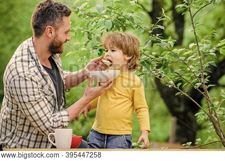 Family Rest Time. Son And Father Eating Outdoor. Happy Fathers Day. Little Boy With Dad Eat Cereal.
