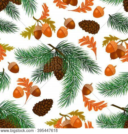 Spruce Branches And Acorns Pattern.christmas Tree Branches, Cones And Acorns With Leaves In A Colore