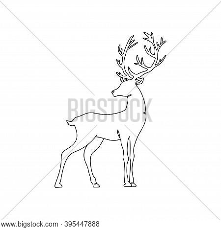 Vector Deer. One Line Drawing. Vector Illustration Continuous Line Drawing. Reindeer. Silhouette Of