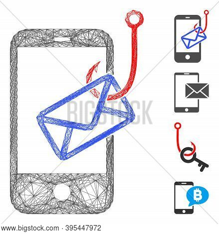 Vector Wire Frame Smartphone Mail Phishing. Geometric Wire Frame 2d Network Generated With Smartphon