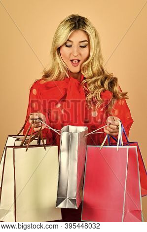 Shopaholic. Closeout And Bargain Sale In Shop. Cyber Monday Concept. Sexy Blond Woman Go Shopping. B