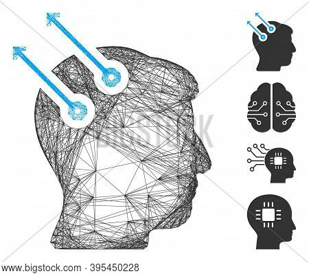 Vector Network Neural Interface Plugs. Geometric Wire Frame Flat Network Made From Neural Interface