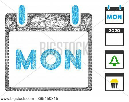 Vector Net Monday Calendar Page. Geometric Linear Carcass Flat Net Generated With Monday Calendar Pa