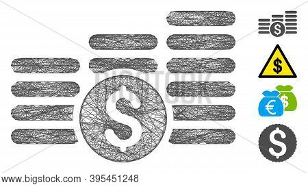 Vector Net Finances. Geometric Wire Carcass Flat Net Generated With Finances Icon, Designed With Cro