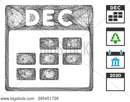Vector Wire Frame December Calendar Grid. Geometric Linear Frame Flat Network Generated With Decembe