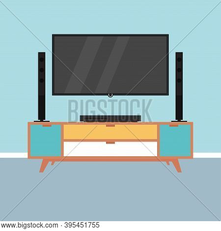 Home Theater Image. Home Entertainment - Vector Illustration