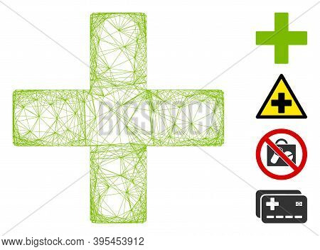Vector Wire Frame Add. Geometric Wire Frame Flat Net Made From Add Icon, Designed From Intersected L