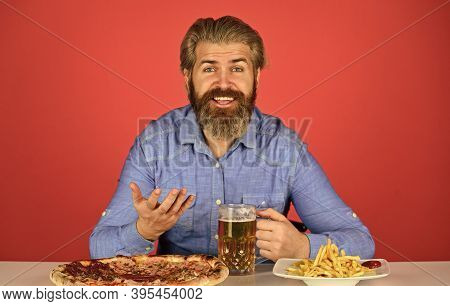 Good Appetite. Dinner At Pub. Hungry Man Going To Eat Pizza French Fries And Drink Beer. Pizzeria Re