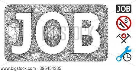 Vector Wire Frame Job Caption. Geometric Linear Frame Flat Network Made From Job Caption Icon, Desig