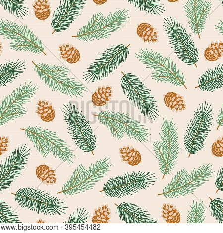 Winter Seamless Pattern With Pinecones And Fir Branches. Christmas Illustration For Fabric, Wrapping