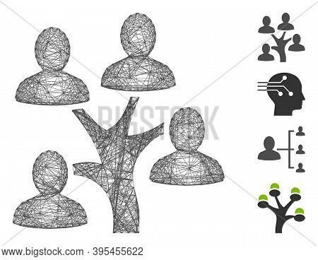 Vector Network Genealogy Tree. Geometric Linear Carcass 2d Network Made From Genealogy Tree Icon, De