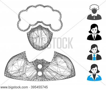 Vector Net Blonde Woman. Geometric Hatched Carcass 2d Net Generated With Blonde Woman Icon, Designed