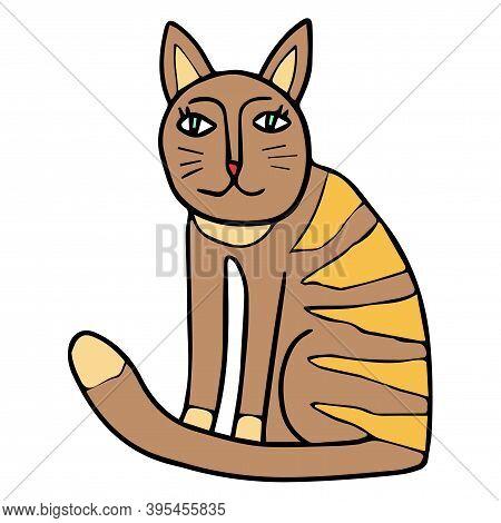 Cute Cartoon Doodle Cat Sitting Isolated On White Background. Childlike Style. Vector Illustration