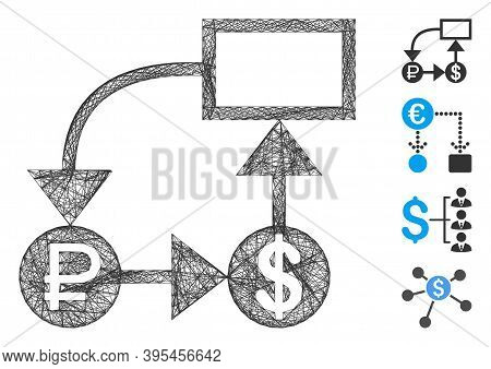 Vector Wire Frame Rouble And Dollar Scheme. Geometric Wire Frame Flat Network Made From Rouble And D