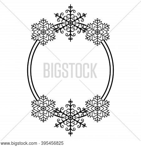 Oval Frame With A Beautiful Pattern Of Snowflakes. Christmas Border, Template For Congratulations, I