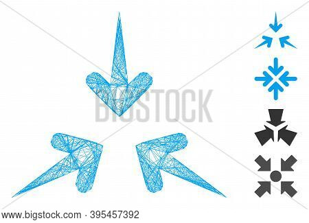 Vector Wire Frame Impact Arrows. Geometric Wire Frame 2d Network Generated With Impact Arrows Icon,
