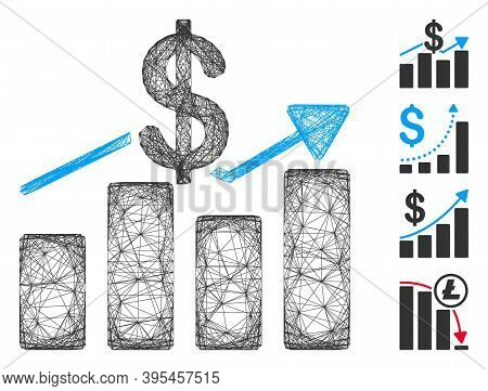 Vector Net Sales Chart. Geometric Linear Carcass 2d Net Made From Sales Chart Icon, Designed From In