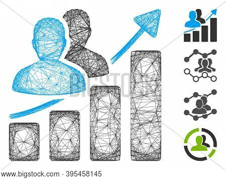 Vector Wire Frame Audience Growth Bar Chart. Geometric Wire Frame 2d Network Based On Audience Growt