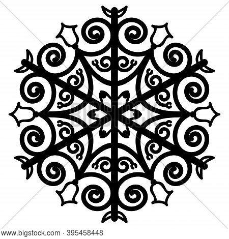 Round Ornament, Mandala. Christmas Snowflake Pattern, Decorative Design Element. Icon, Beautiful Pat