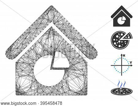 Vector Net Realty Pie Chart. Geometric Linear Frame 2d Net Made From Realty Pie Chart Icon, Designed