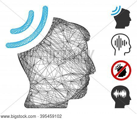 Vector Wire Frame Radio Reception Brain. Geometric Wire Frame Flat Net Based On Radio Reception Brai