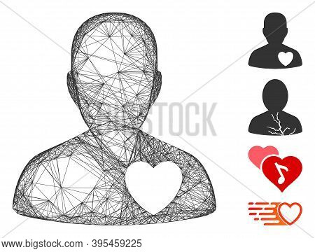 Vector Wire Frame Cardiology Patient. Geometric Wire Frame 2d Net Made From Cardiology Patient Icon,