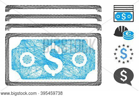 Vector Wire Frame Dollar Banknotes. Geometric Wire Frame 2d Network Made From Dollar Banknotes Icon,