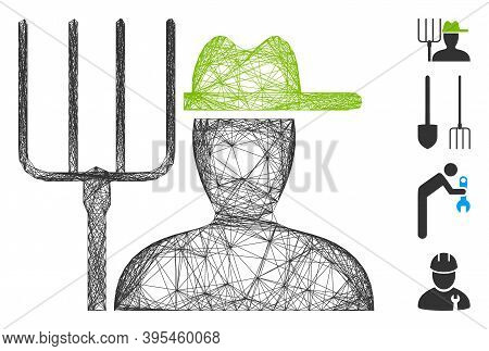 Vector Network Farmer With Pitchfork. Geometric Wire Frame Flat Network Made From Farmer With Pitchf
