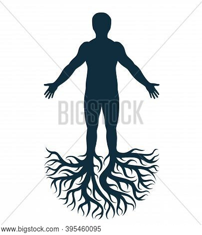 Vector Art Graphic Illustration Of Strong Male, Body Silhouette Created Using Tree Roots. Slavic Anc