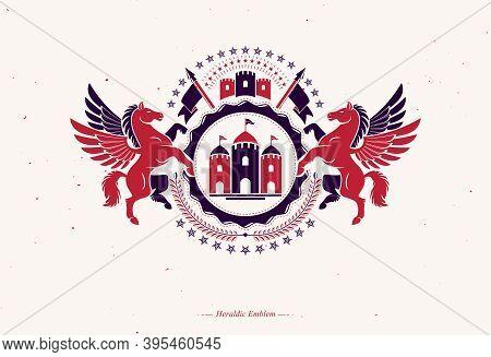 Retro Vintage Insignia. Vector Design Element Created Using Mythic Pegasus Illustration, Pentagonal